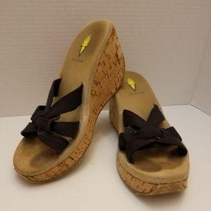 Volatile Women Black Strap Cork Wedge Sandal Size